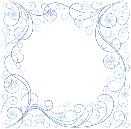 white card with blue snowflakes Stock Vector - 16655743