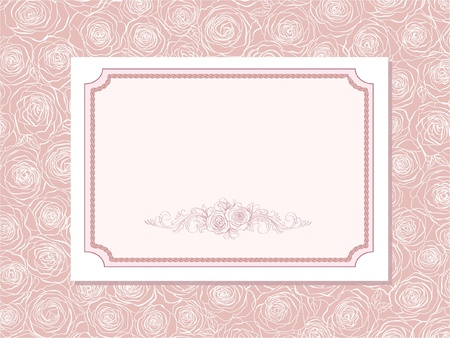 cute card with  roses Vector