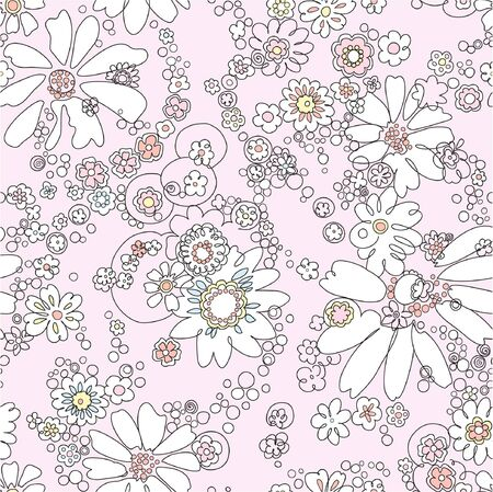leaflets: seamless  pink abstract  floral   background Illustration