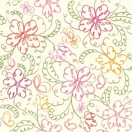 zökkenőmentes virágos háttér pillangó Illusztráció