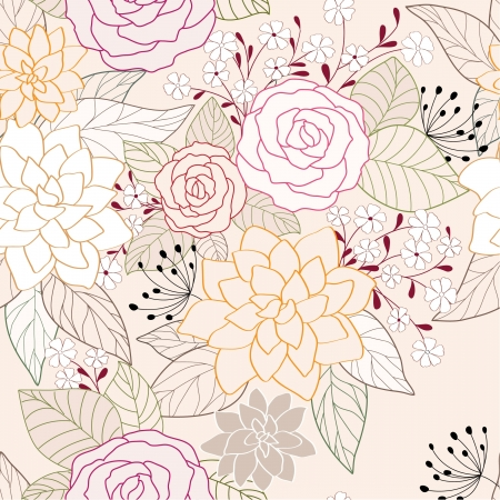 peony black: seamless abstract    floral background