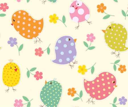 background with nestling and flowers Stock Vector - 16868384