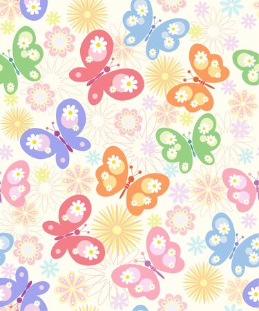 seamless  floral   background with butterfly