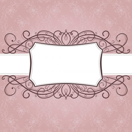 pink lily: Vector  greeting frame