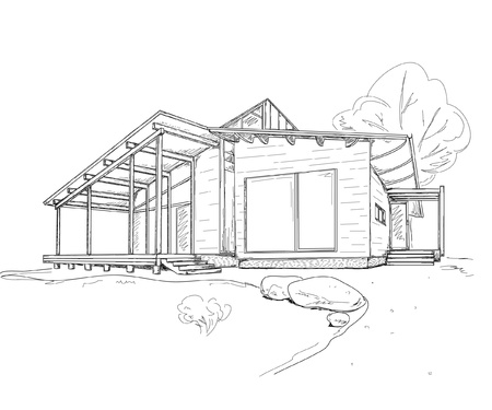 housing project: building drawing Illustration