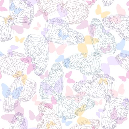 Seamless background with butterflies