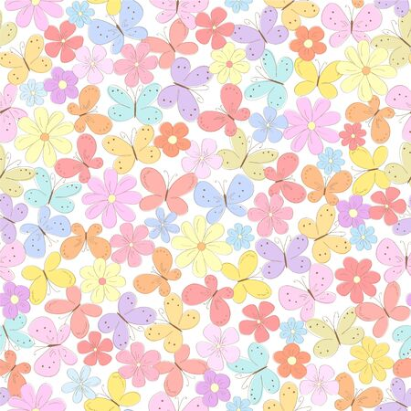 seamless floral background with butterflyes