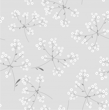 seamless black and white floral  background