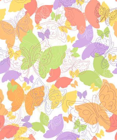 seamless background with butterfly Illustration