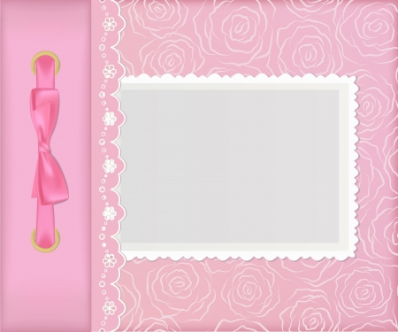 chequered ribbon: Pink cover for an album with photos Illustration
