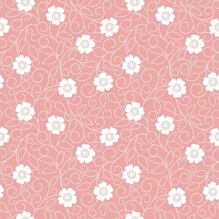Seamless pink abstract  floral   background Illustration
