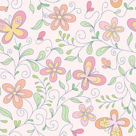 modern garden: seamless  pink floral   background with butterfly Illustration