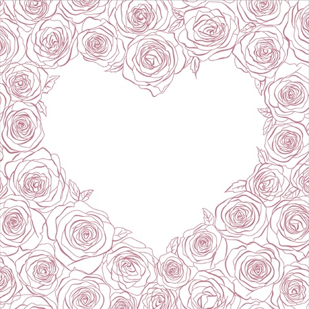 pink heart: heart of roses
