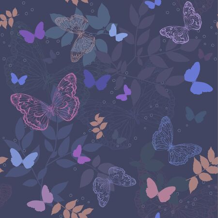seamless floral  background with  butterfly Stock Vector - 17684887