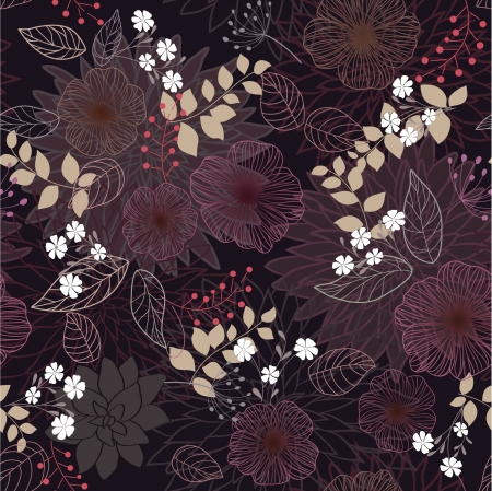 Seamless dark abstract floral background Imagens - 17795015