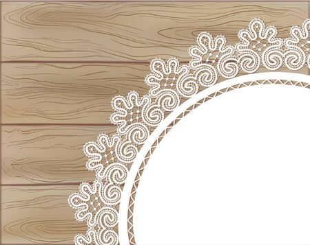 Template frame design for card on wooden background Vector