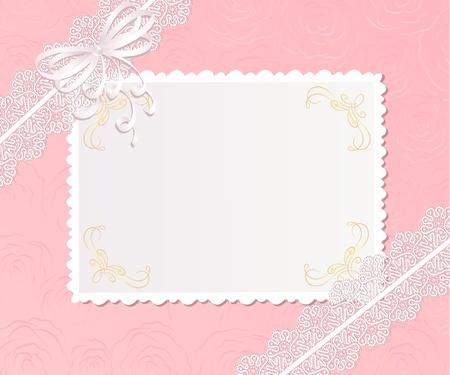 lazo rosa: Plantilla de dise�o de marco para la tarjeta