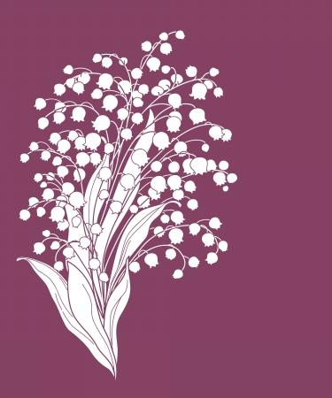 tarjeta linda con flores de lirio de los valles