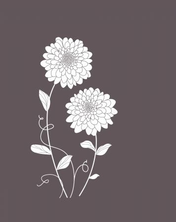 Cute floral card with dahlias