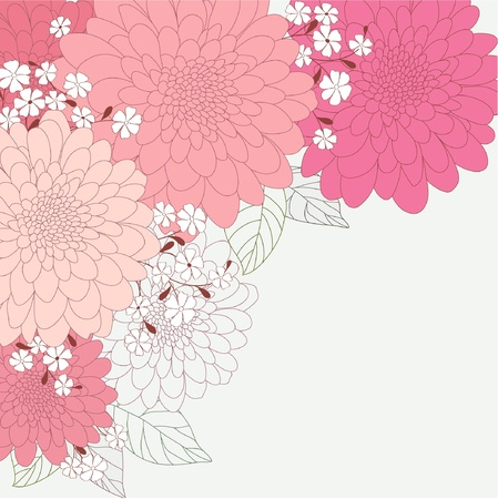 Cute floral card with dahlias Vector