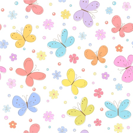 butterfly background: seamless floral background with butterflies