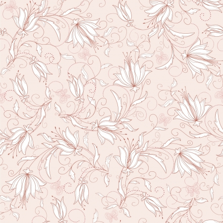 Seamless abstract pink floral  background Vector