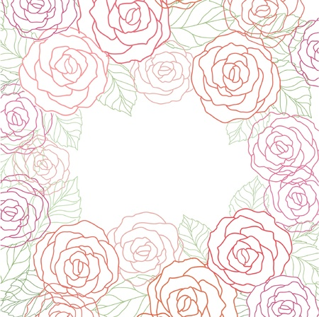 cute  floral card with roses Vector