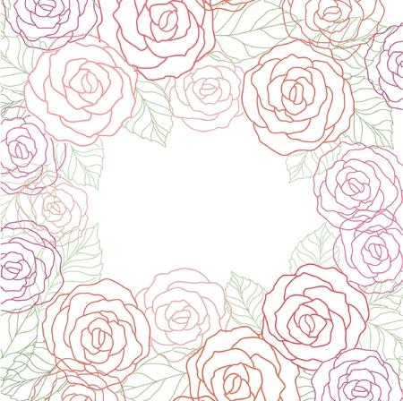 love rose: Linda tarjeta floral con rosas Vectores