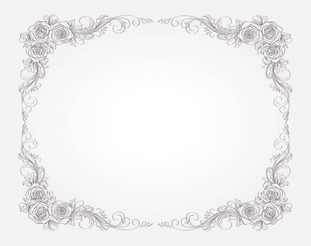 floral frame with roses Ilustração