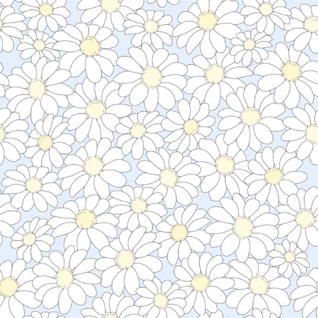 seamless abstract floral background with camomiles Vector