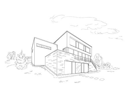 Vector schets van het moderne huis