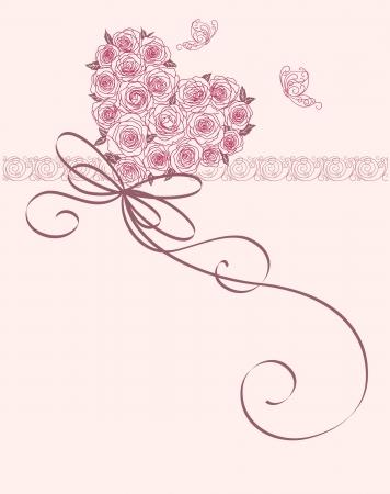 c�r�monie mariage: carte mignonne avec le coeur de roses