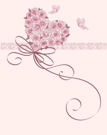 wedding card design: cute card with heart of roses Illustration