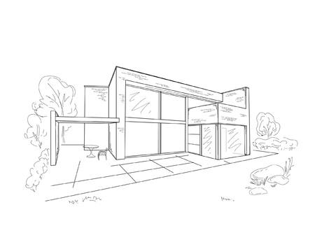 Vector sketch of modern house Illustration
