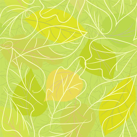 seamless green bckground from leaves Vector