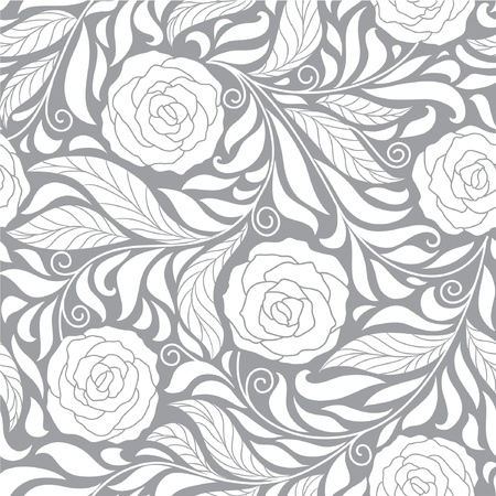 seamless dark floral  background with roses Vector