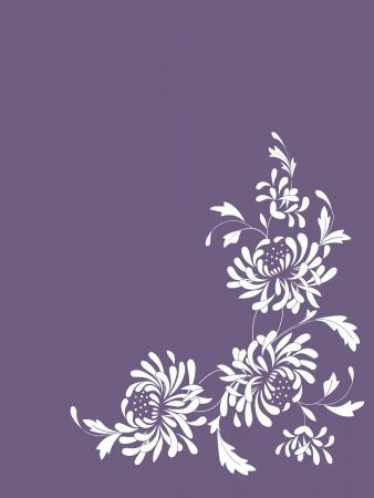 Floral card with chrysanthemums Ilustração