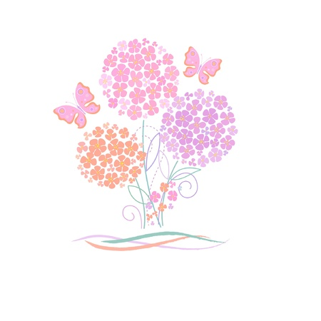 cute card with flowers and butterfly Vector