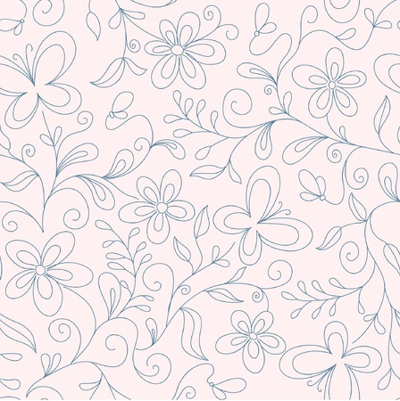 leaflets: seamless  pink floral   background with butterfly Illustration