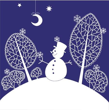white party: Kerstkaart met sneeuwpop Stock Illustratie