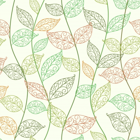 seamless  abstract  floral   background with leaves Vector