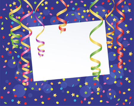 party streamers: Template frame design for christmas greeting card Illustration