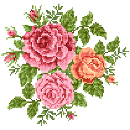 Nahtlose Abstract Floral Hintergrund Mit Blumenstrauß Der Rosen