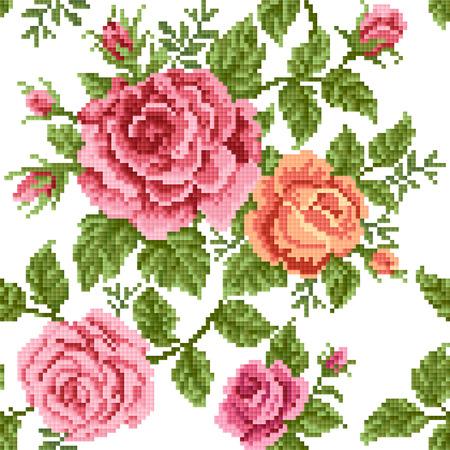 Folytonos háttér rózsa, hímzés