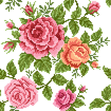 seamless background with roses, embroidery Imagens - 22896235
