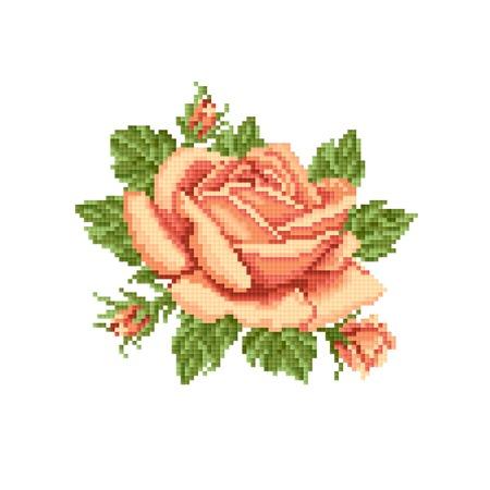 gele rozen: gele rozen, borduren