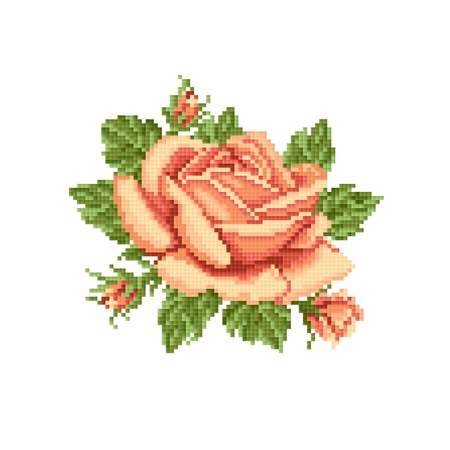 yellow roses, embroider Vector