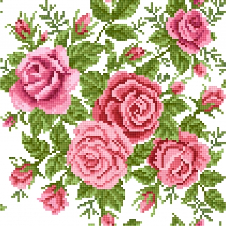 lappet: bouquet of the roses, embroider