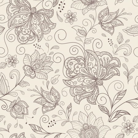 flores vintage: seamless abstract floral  background Illustration