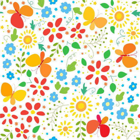 seamless floral background with butterflys Vector